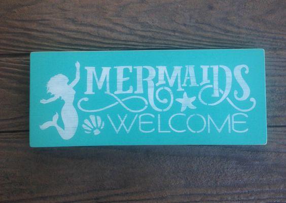 Mermaids Welcome Wooden Beach Decor Sign Nautical by Farmhouse896