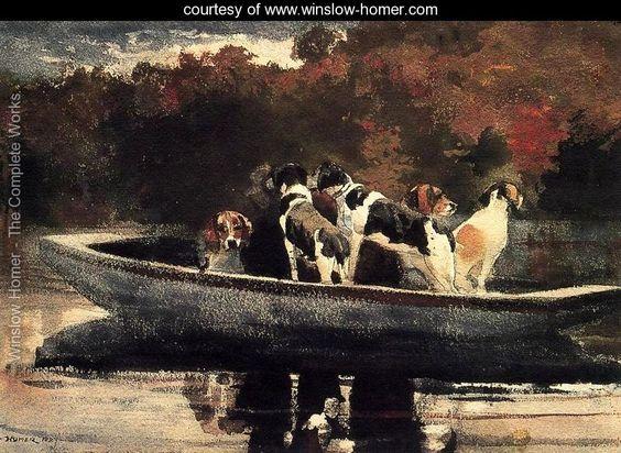 Dogs in a Boat - Winslow Homer - www.winslow-homer.com