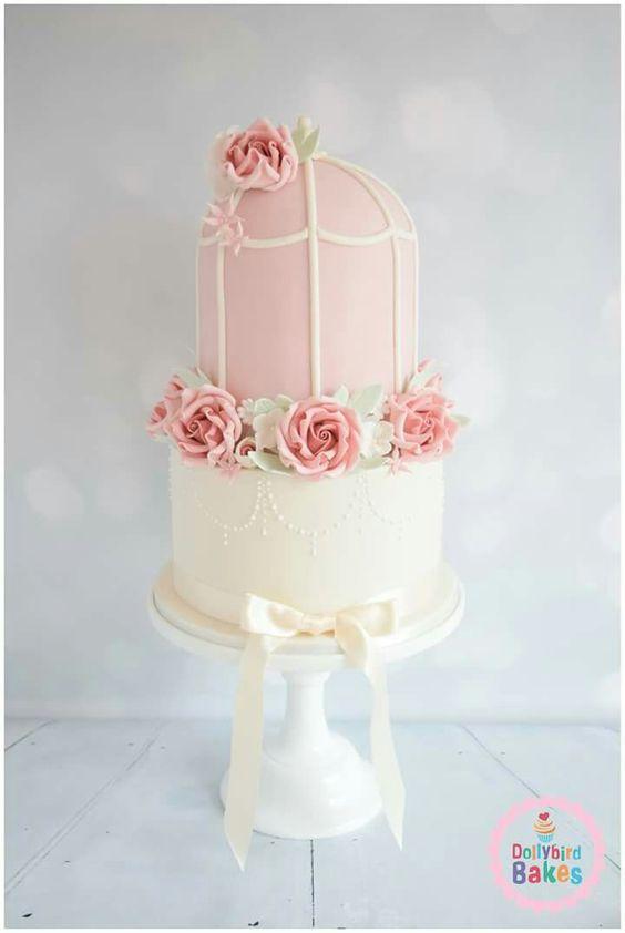 Floral birdcage cake