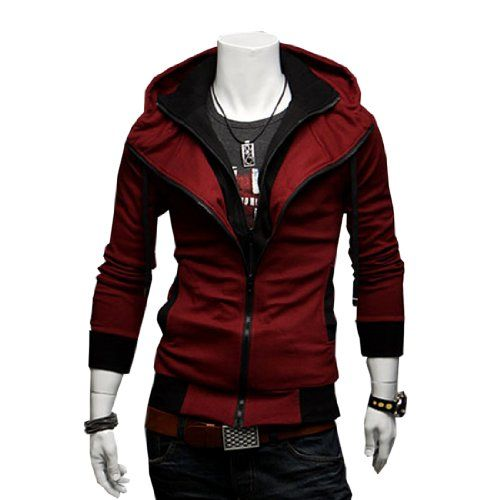 Fancy Dress Store 3 Colors Mens Casual Zip Up Top Hoodie Jackets