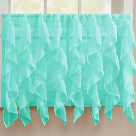 Gypsy Crushed Voile Ruffle Kitchen Window Curtain 24 inch, 36 inch ...