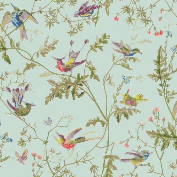 papel pintado colibris verde azulado | telas & papel