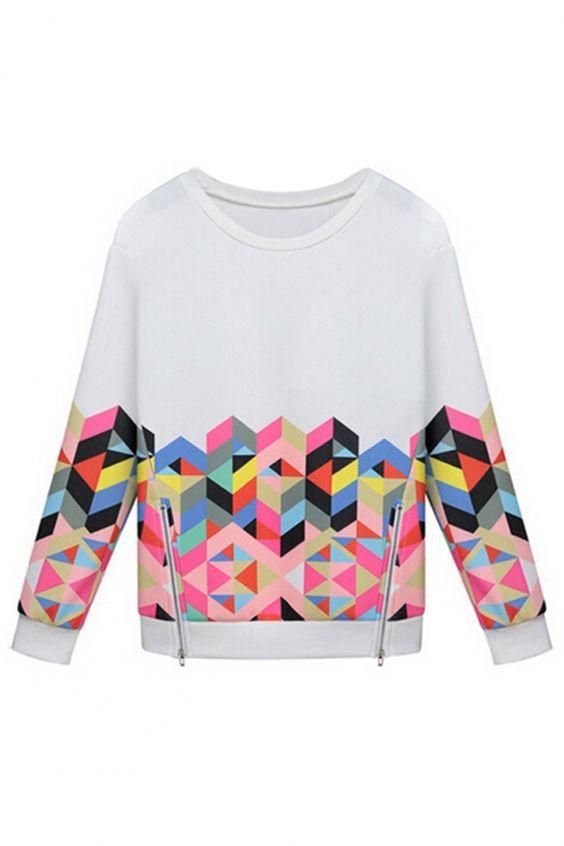 Women's Fashion Clothing #Graphic #Geo Pattern #Zipper Deco #Sweatshirt - OASAP.com