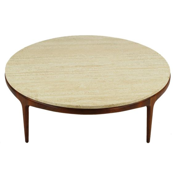 Italian Modern Round Figural Walnut Travertine Coffee Table Marble Top The O 39 Jays And Furniture