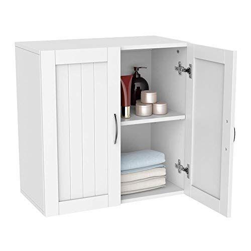 Topeakmart White Wooden Bathroom Wall Cabinet Toilet Medicine Storage Organizer With Adjust Bathroom Organisation Bathroom Cabinets Over Toilet Wooden Bathroom