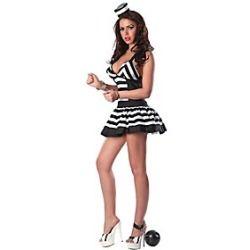 Hot Girl Black Spandex Lycra Dress Female Prisoner Uniform