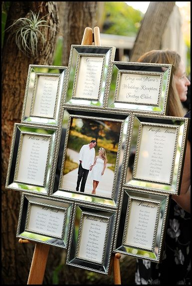 Use a unique frame to creating your wedding reception seating chart! http://www.eventsbykatherine.com/island-hotel-wedding/: