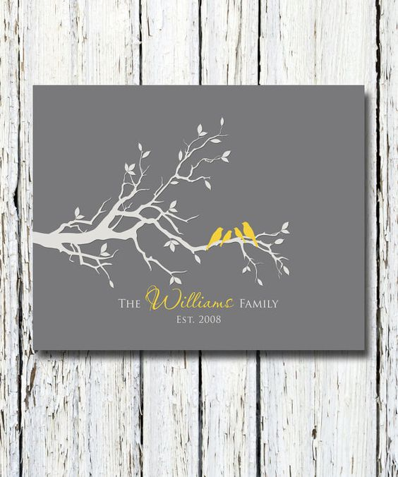 Personalized Custom Love Bird Family Tree Branch, Family Names and ...