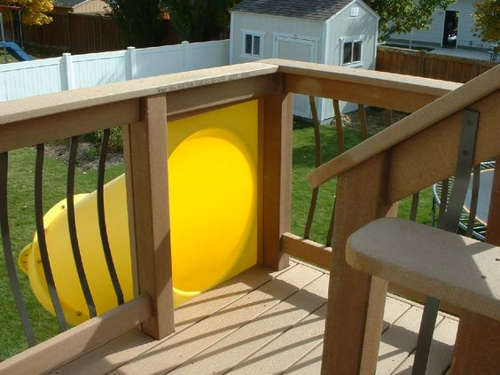 Kid's slide from a second story deck. Easy to install and you don't have to get an entire play set.