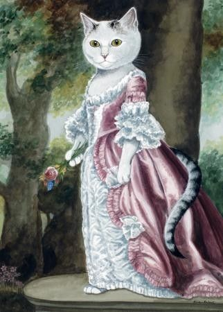 chat, princesse, dessin, robe, élégance