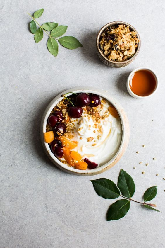 Stone-Fruit-Stew-with-Citrus-Granola | http://www.8thandlake.com