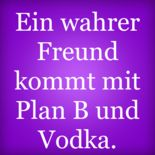 Ein wahrer Freund kommt mit Plan B und Vodka.