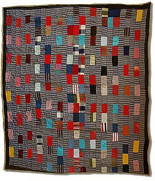 """Britcher Leg"" quilt by Mississippi quilter Beatrice Davis Franks, 1884-1978. Seen at Hart Cottage Quilts: ""Living out the motto 'Use it up, wear it out, make it do or do without,' she used whatever fabrics were on hand --- polyester doubleknits for the 1970s Britcher Leg quilts."""