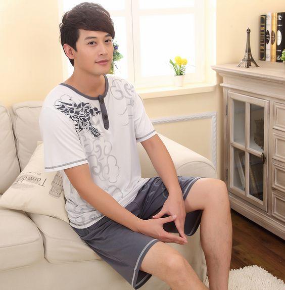 Men leisurewear modal pajamas leisure shirt men plus-size pajamas ...