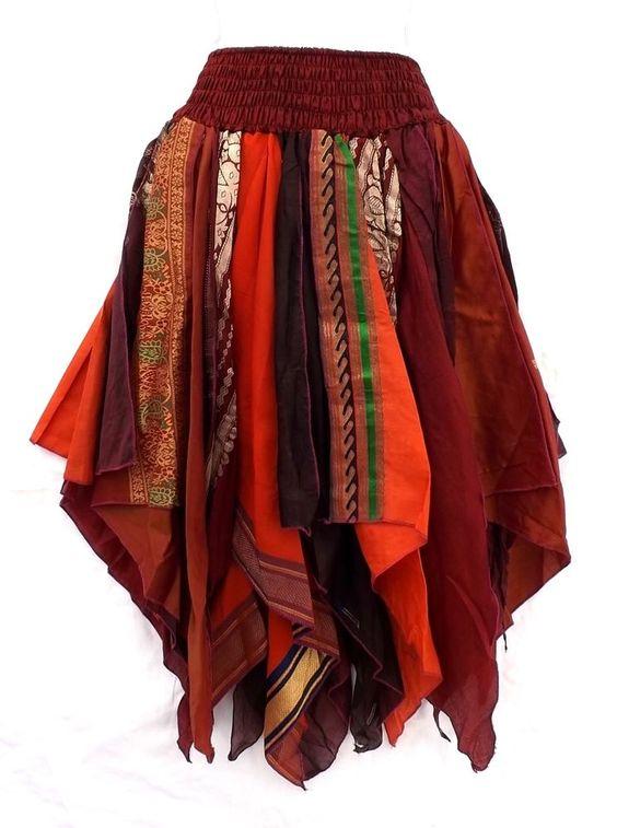 Gypsy Fairy Pixie Belly Dance Costume Vintage Silk Handkerchief Scarf Skirt