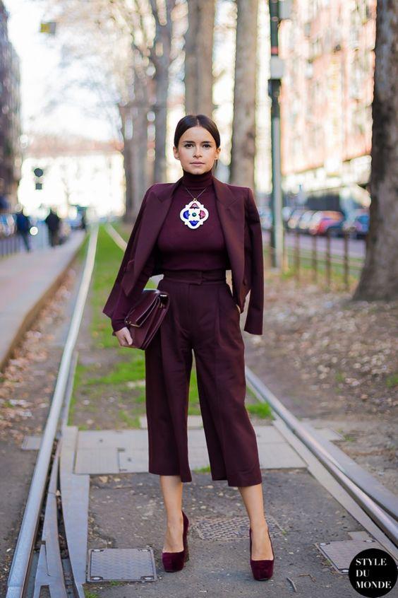 burgundy culottes with blazer