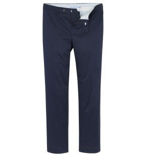Slim Fit Cotton Trousers in Navy - Hackett