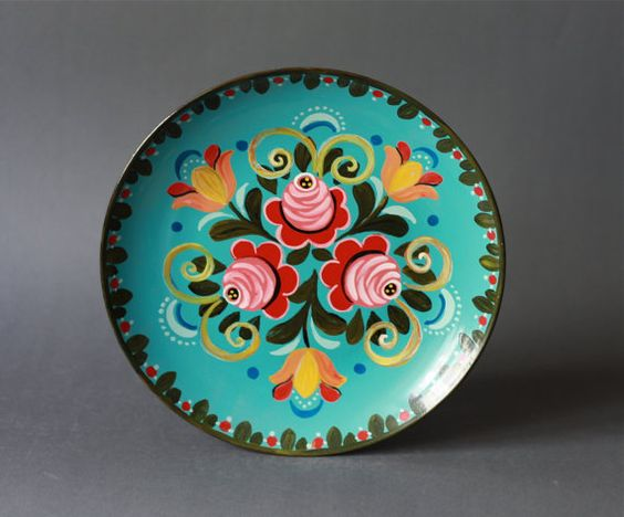 Vintage Handpainted Russian Folk Flowers Plate Wall
