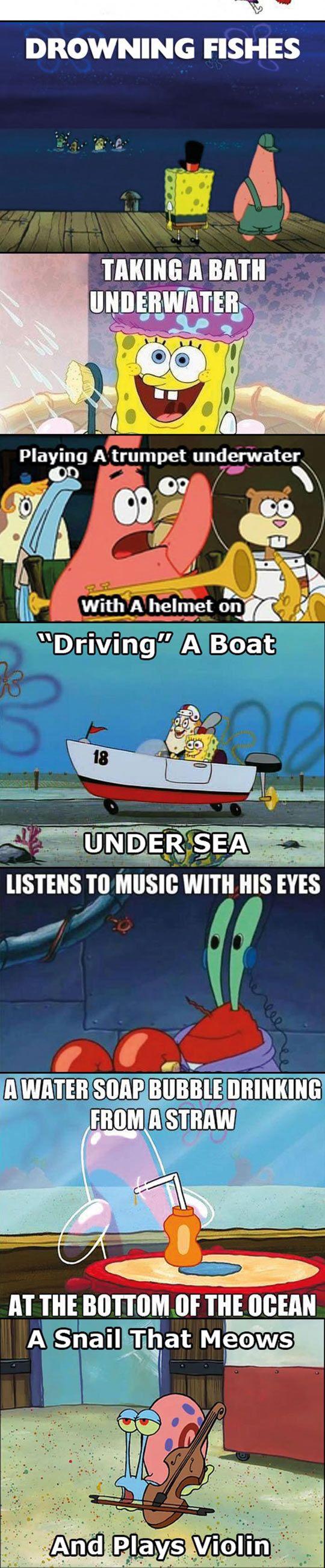 SpongeBob Logic<<< DID THEY JUST CALL A SAXOPHONE A TRUMPET??? CUZ THAT LOOKS LIKE A SAX NOT A TRUMPET!!!!!!!!