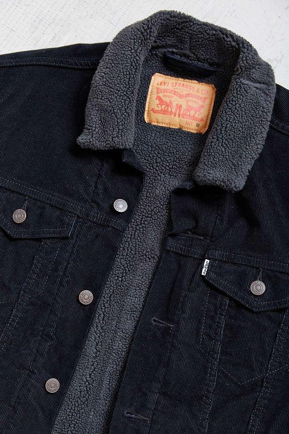 levi 39 s black corduroy sherpa trucker jacket levis. Black Bedroom Furniture Sets. Home Design Ideas
