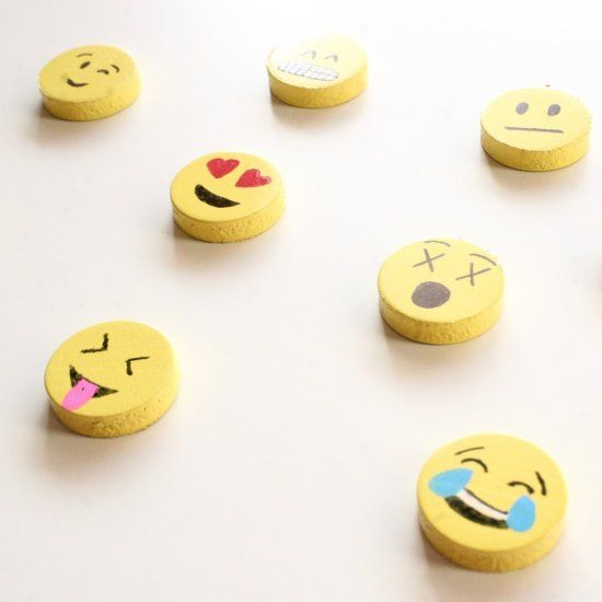 Use small round magnets to make these super cute DIY emoji magnets!