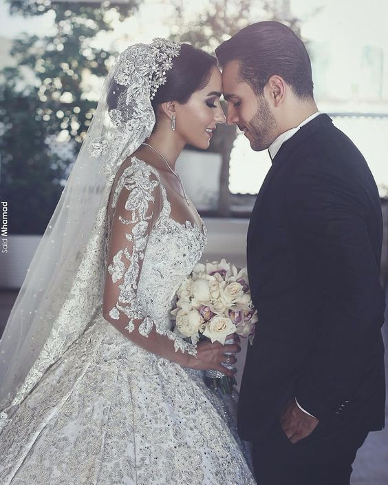 Long Sleeves Arabic Wedding Dresses With Long Train Robe De Mariee Sexy Sheer Neck Lace Appliqued Beaded Wedding Gowns
