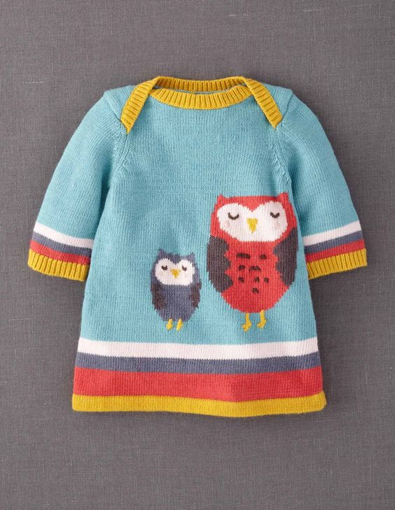 My Baby Knitted Dress, Daddy Owl & Baby Owl are left behind while Mama goes off shopping with the Pussycat #boden and #magicalmenagerie