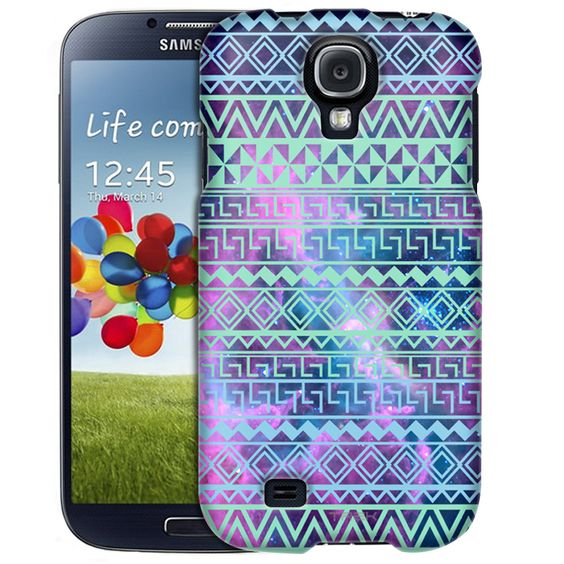 Samsung Galaxy S4 Aztec Andes Green Turquoise Tribal on Nebula Slim Case