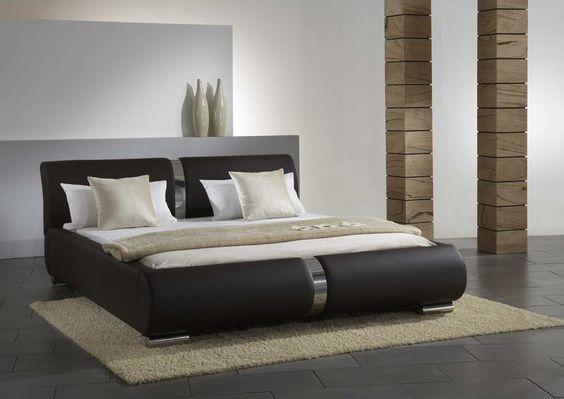 Lederbett LYNES in braun Schlafzimmer Pinterest - schlafzimmer komplett billig