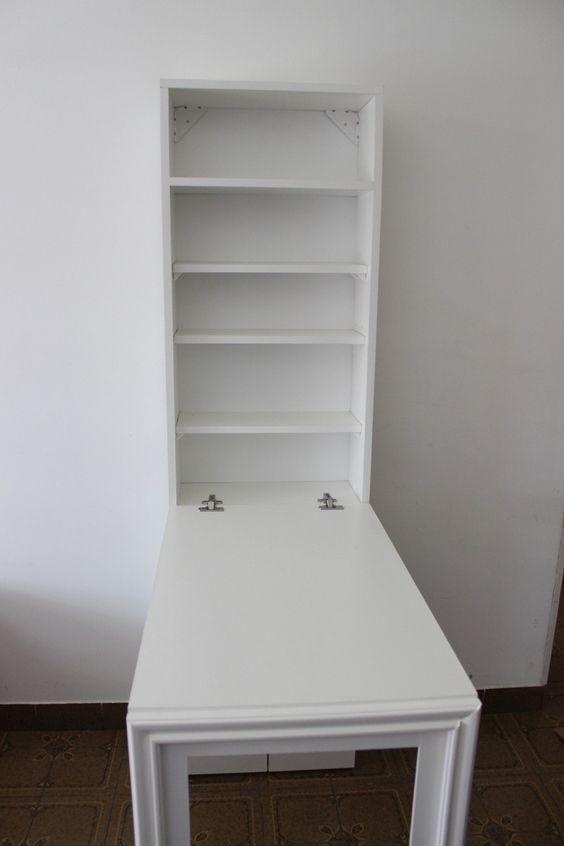Escritorio mesa plegable pared con espacio de guardado mesas for Mesa plegable pared