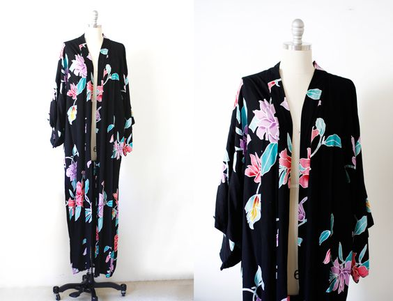 90's Tropical Kimono Style Duster / Free Size by wemovevintage on Etsy
