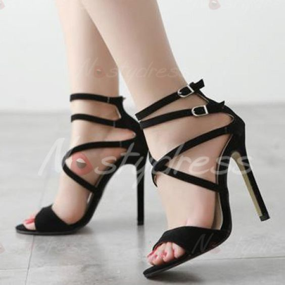 Stylish Solid Colour and Double Buckle Design Sandals For Women