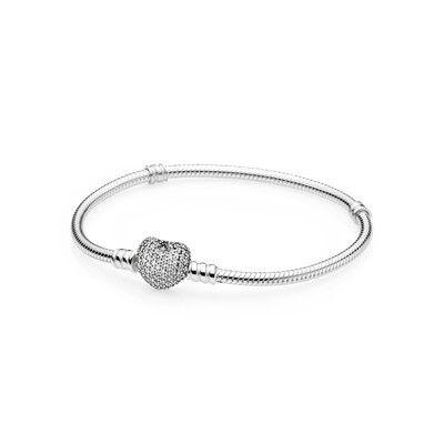 Corazón pavé, cz clara | Pulseira pandora prata, Pulseira de ...