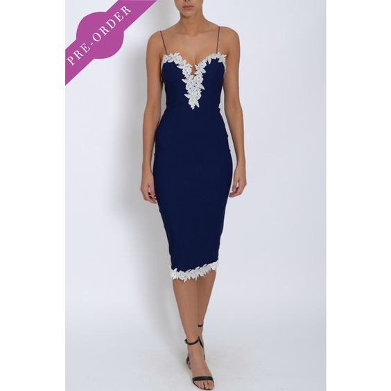 Navy lace trim dress