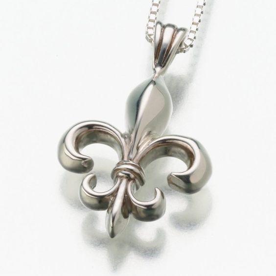 Fleur de Lis Pendant Cremation Jewelry in Sterling Silver