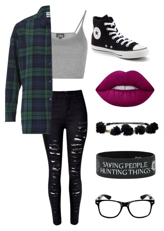 """"" by pockynoodles on Polyvore featuring WithChic, Topshop, Essentiel, Converse, Lime Crime and Hollister Co."