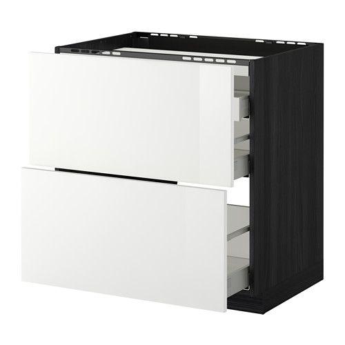 METOD / MAXIMERA Él bas tbl c/2 faces/3 tiroirs - effet bois noir, 80x60 cm, Ringhult brillant blanc - IKEA