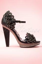 20s Lourdes Rhinestone Scallop Sandals in Black