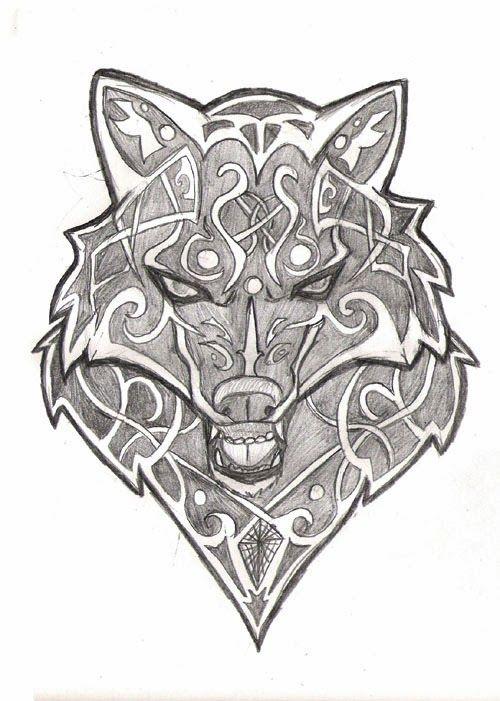 Wolf Head Tribal In 2020 Celtic Wolf Tattoo Wolf Tattoo Wolf Tattoos