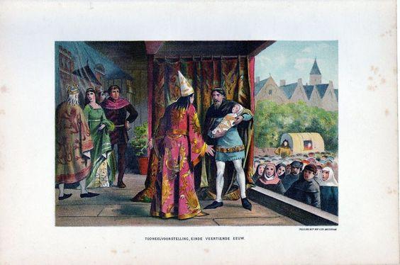 Antique litho print dutch drama toneel 14e eeuw / stampa antica Teatro Olanda