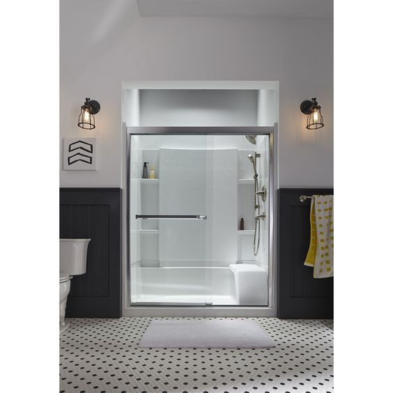 Clear glass frameless sliding bathroom shower doors Shop Sterling Meritor 54 375 in to 59 375. Sterling Meritor 54 375 in to 59 375 in W x 69 713 in H Frameless