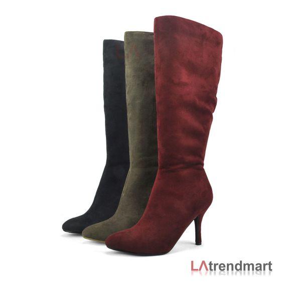 Hot New Women Knee High Pointy Toe Stiletto Heel Boots Zipper Faux Suede Voss…