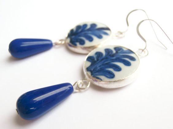 Blue Statement Earrings, Pottery Shard Jewelry, Blue & White China by polishedtwo, $16.00