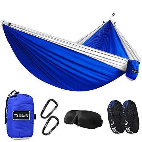 Beach Travel Backpacking Kamileo Camping Hammock Double Parachute Hammocks with 3D Sleep Mask for Hiking Yard Gear Includes Nylon Straps /& Steel Carabiners 500lb for Sitting /& Hanging