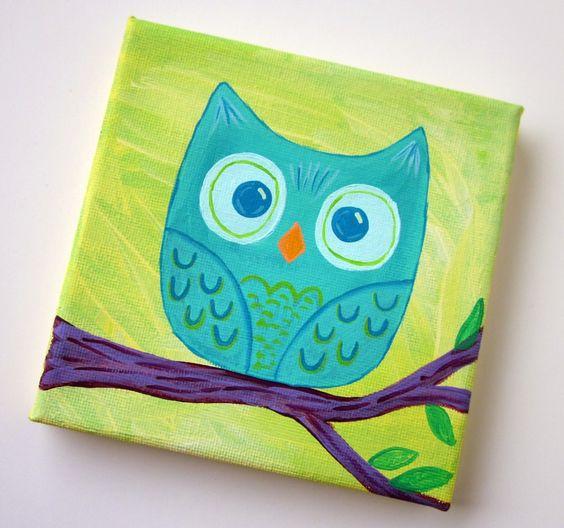 Cute owl canvas paint idea for wall decor. Owl on a branch. Canvas painting. Wall art.