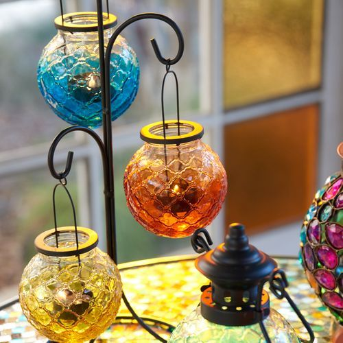 Medallion Ombre Glass Hanging Tealight Lantern Tea Lights Tea Light Holder Hanging Tealight Candle Holders