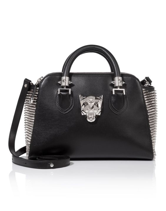"""PHILIPP PLEIN Top Handle Small """"Sharper"""". #philippplein #bags #leather #hand bags #polyester #lining #"""