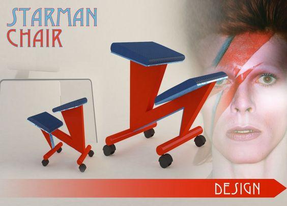 Starman Chair è una sedia adatta a chi deve stare parecchio tempo sulla scrivania, magari davanti al grande monitor del computer, a lavorare e creare. Le sedie ergonomiche con seduta inclinata e cuscino d'appoggio per le ginocchia hanno sempre avuto lo stesso aspetto, estremamente funzionale e con poche varianti nel disegno. Quando mi capitò davanti l'immagine famosa di David Bowie con il fulmine rosso dipinto sul viso ho avuto l'ispirazione che ha fatto sì che questo tipo di sedia potesse…