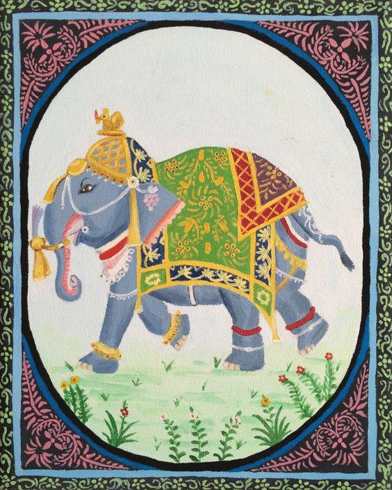 Hindu Poster Art: Indian Elephant Print By LaurensArtAndStuff On Etsy, $12