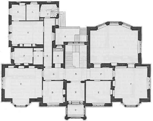 gothic mansion design plans from the 1800s front